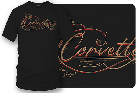 Image of Corvette Pinstriped Script lettering - Corvette Script logo shirt - Wicked Metal