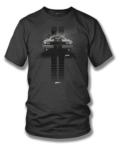 Image of Dodge Challenger Stripes- Muscle Car T-Shirt - Challenger t-Shirt - Wicked Metal