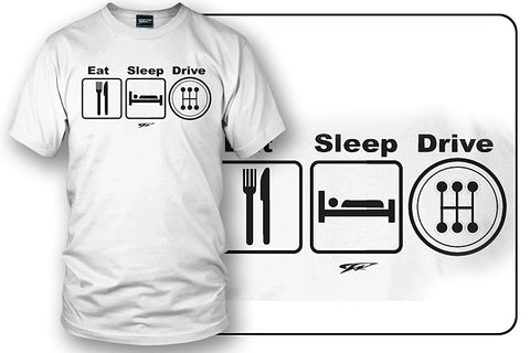 Image of Wicked Metal Eat Sleep Drive Stick, White shirt - Wicked Metal