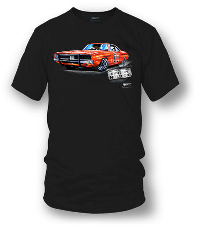 Image of Dodge Charger Hold On t-shirt, Dukes of Hazzard Style t-shirt Black - Wicked Metal