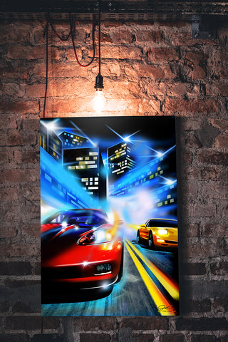 Corvettes racing at night wall art - garage art
