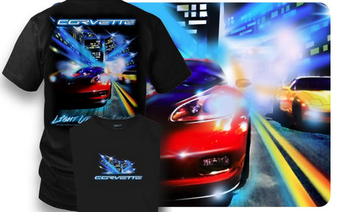 Corvette shirt - Corvette c5, C6 - Light up the night- $19.99 - Wicked Metal