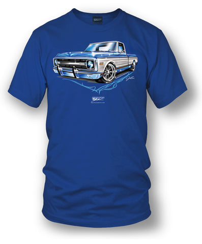Image of Blue Chevy C-10 square body - Truck T-Shirt - Chevy c-10 t-Shirt