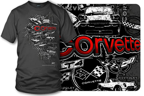 Image of Corvette Shirt - Emblems - Corvette Emblems t-shirt - Wicked Metal - Wicked Metal