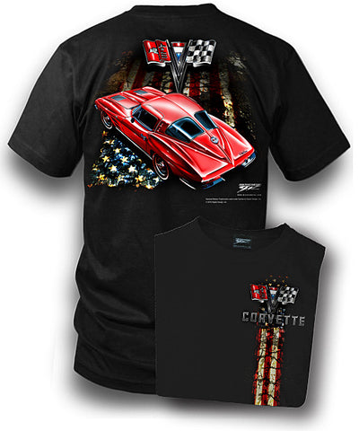Corvette Shirt – Patriotic – Corvette C3 – Split Window - Wicked Metal