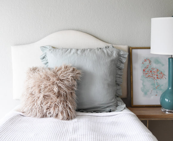 Ready to Ship! Low-Profile White Linen Dorm Headboard, Camelback, Twin Headboard