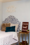 Tall Dorm Headboard, Twin Headboard, Indigo Printed Fabric, Dorm Room Headboard, Dorm Decor, Graduation Gift, Bedroom Decor, Boho Decor