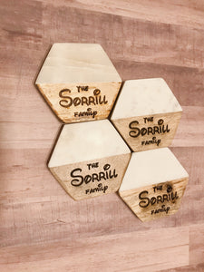 Personalized Coasters, Set of 4, Wood and Marble Coasters, Custom Coasters, Engraved Coasters, Housewarming Gift, Magical Font with hexagon shape