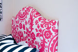 Low Profile Dorm Headboard, Twin Headboard, Bold Pink Fabrics, Dorm Room Headboard, Dorm Decor, Graduation Gift, Bedroom Decor, Dorm Life