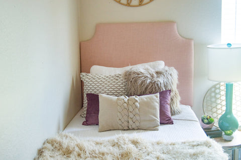 Tall Dorm Headboard, Twin Headboard, Blush Linen Fabric, Dorm Room Headboard