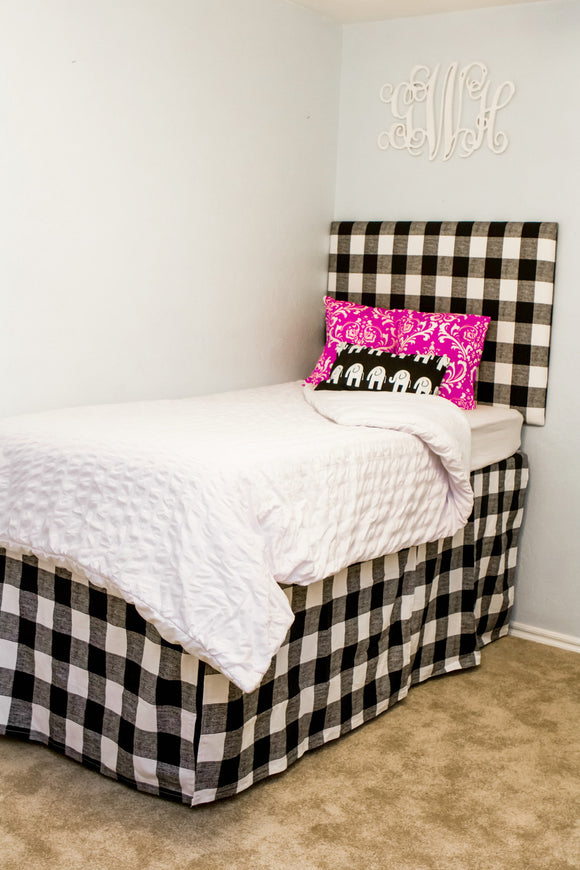 Tall Dorm Headboard and 3 Dorm Bed Skirt Panels Bundle, Twin Headboard, Black Print Fabric