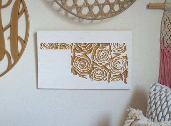 Oklahoma Floral Sign, State Sign, Floral Sign, Gallery Wall, Graduation Gift, Housewarming Gift, Gold Home Decor, Carved Sign, rose sign