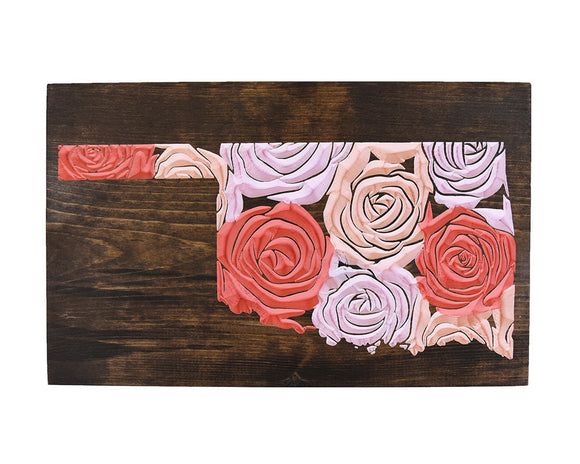 Oklahoma Floral Sign, State Sign, Floral Sign, Gallery Wall, Graduation Gift, Housewarming Gift, Jacobean Stain with Pink Floral, Rose Decor