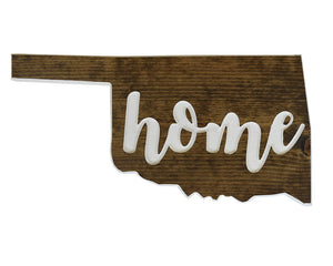 Oklahoma State Sign, Wood Sign, Carved Sign, Oklahoma Home Decor