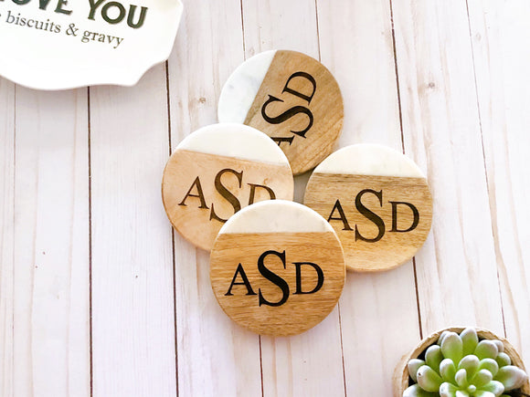 Personalized Coasters, Set of 4, Wood and Marble Coasters, Custom Coasters, Engraved Coasters, Housewarming Gift, Monogram Coasters, Round