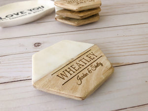 Personalized Coasters, Set of 4, Wood and Marble Coasters, Custom Coasters, Engraved Coasters, Housewarming Gift, Wedding Gift