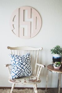Wooden monogram, wall decor, dorm decor, Metallic Pink Finish