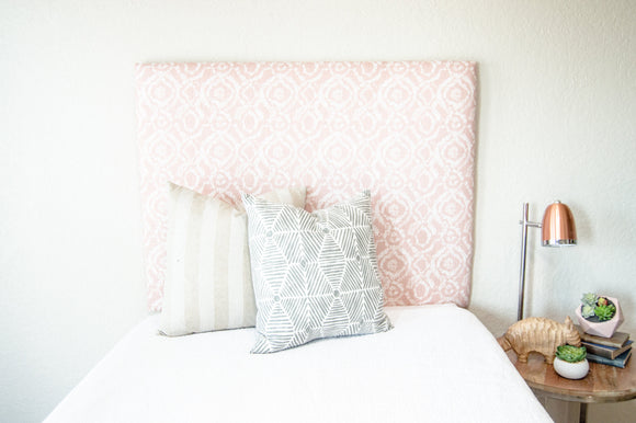 Tall Dorm Headboard, Twin Headboard, Blush Printed Fabric, Dorm Room Headboard, Dorm Decor, Graduation Gift, Bedroom Decor, Boho Decor