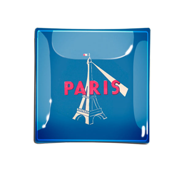 "Eiffel Tower Decoupage Tray, 6"" square"