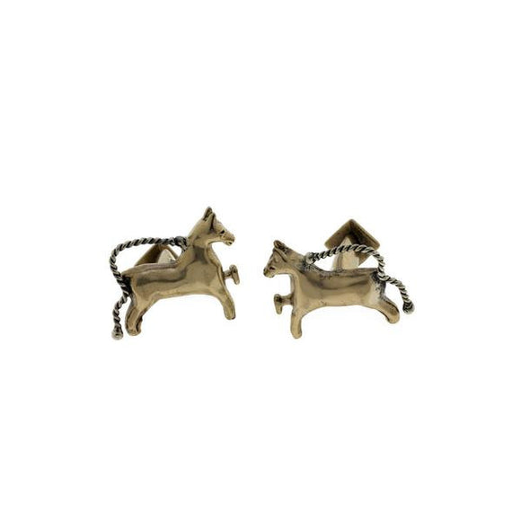 Classical Horse Bronze and Sterling Silver Stud Cuff Links