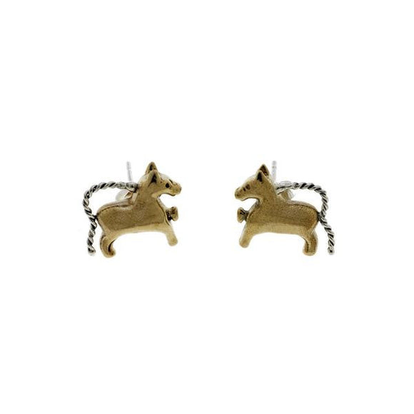 Classical Horse Bronze and Sterling Silver Stud Earrings