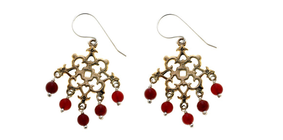 Barnes Metalwork Earrings, Carnelian