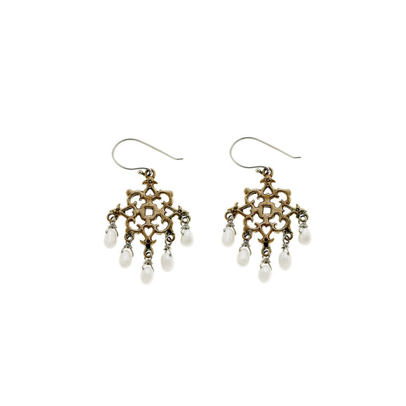 Barnes Metalwork Earrings, Pearl
