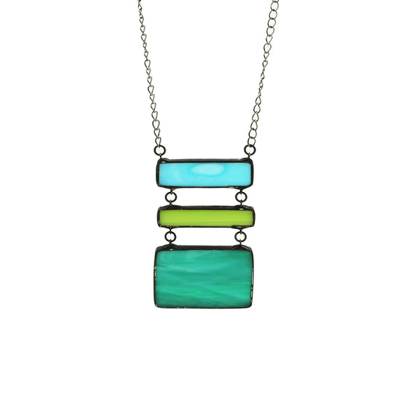 Stained Glass Stacked Pendant long necklace