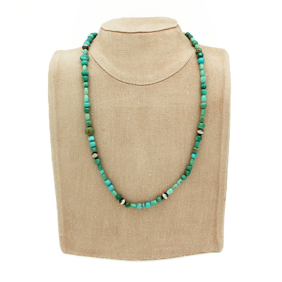 Turquoise and Sterling Silver Oxidized Bead Necklace