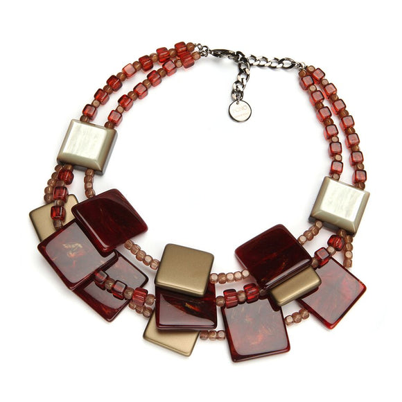 Italian Resin Statement Necklace: Gianna, ruby