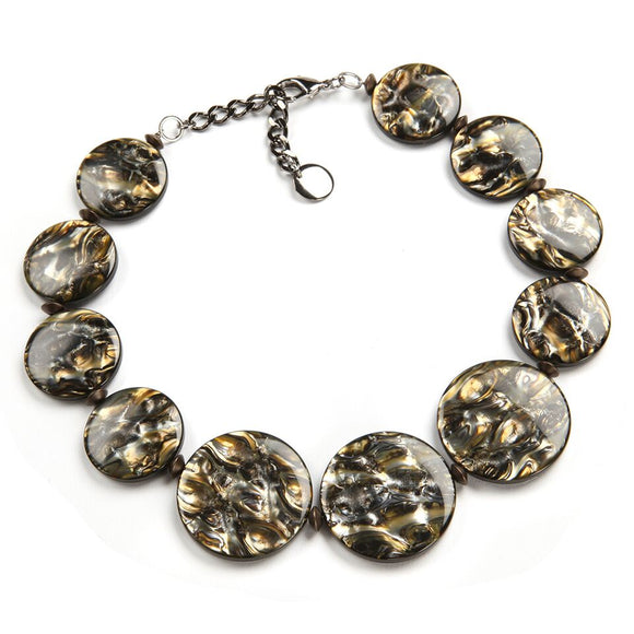 Italian Resin Statement Necklace: Perseo, black gold