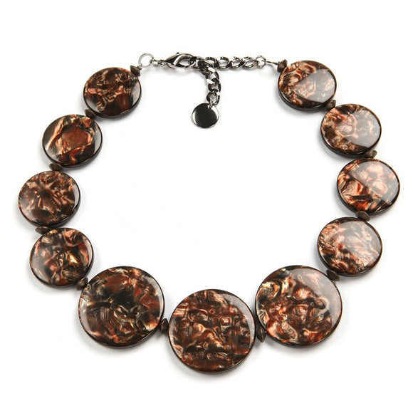 Italian Resin Statement Necklace: Perseo, copper