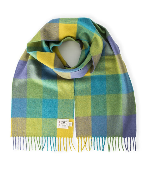 Handwoven Merino Wool Scarf, Lime Check