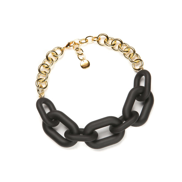 PONO Margo large chain resin necklace, matte black