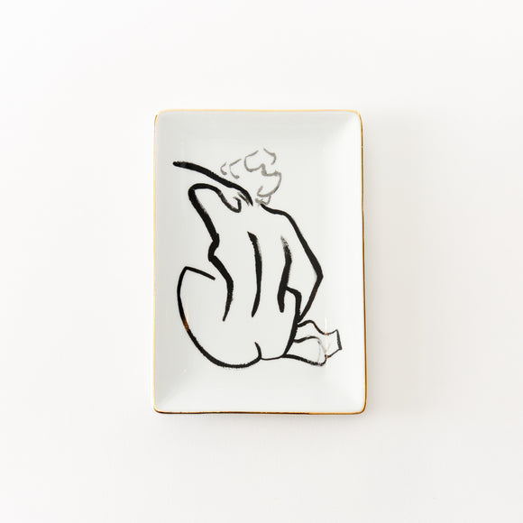 Nude Line Drawing Tray with Gold Edge