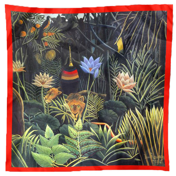 "Rousseau ""Jungle"" Square Silk Scarf"