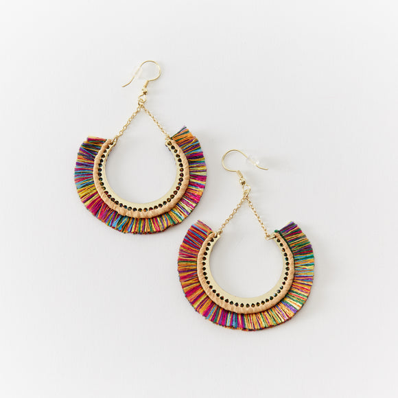 Curved Rainbow Fringe Drop Earring