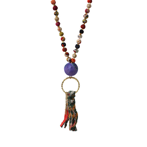 Long Kantha Tassled Necklace, Assorted