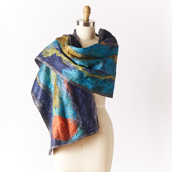 Silk and Wool Felted Wrap, Blue Floral
