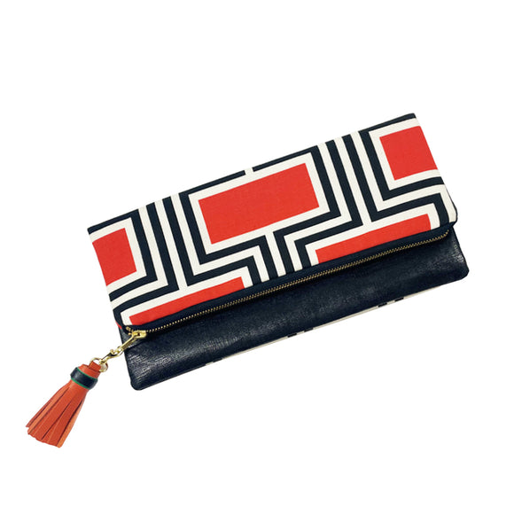 2ChicDesigns fold-over clutch, red and black geometric