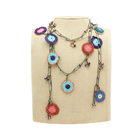 Oya Lace Lariat Necklace, Multi-color Round