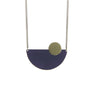 navy semi circle pendant necklace