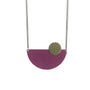 plum semi circle pendant necklace