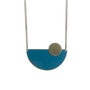 teal semi circle pendant necklace