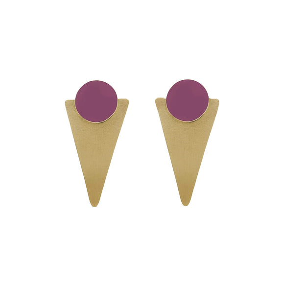 Brass Triangle statement earrings