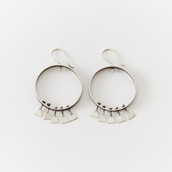 Silver Triangle Fringe Hoops