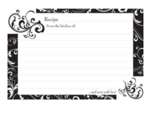 Black & White Recipe Refill Cards ( 36 )