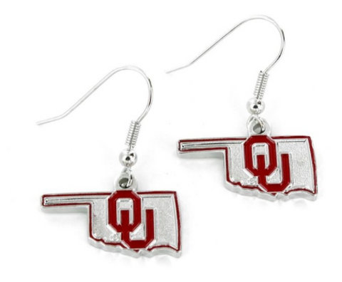 OU Earrings State Shaped Design