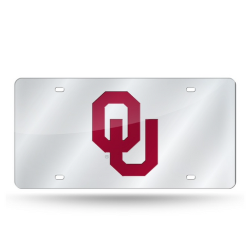 Oklahoma Sooners License Plate Laser Cut Silver