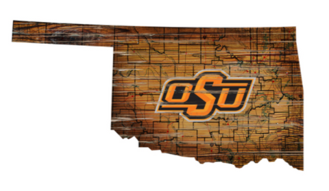 Oklahoma State Cowboys Wood 24 Inch State Wall Art Design